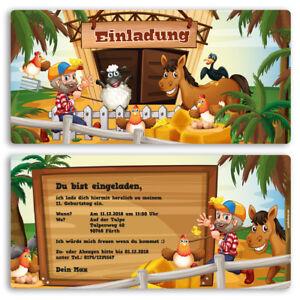 Schön Das Bild Wird Geladen Einladung Zum Geburtstag Bauernhof  Pony Einladungskarten Kindergeburtstag