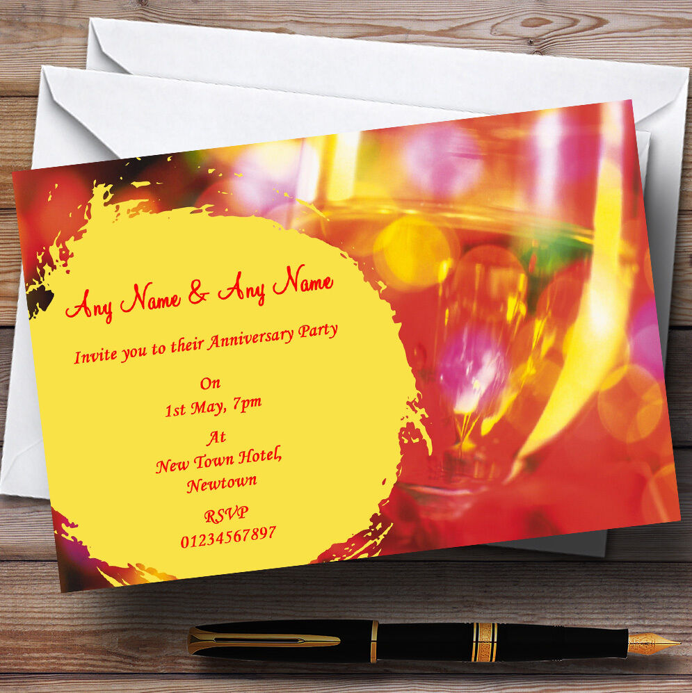 Champagne Glasses Wedding Anniversary Party Personalised Invitations
