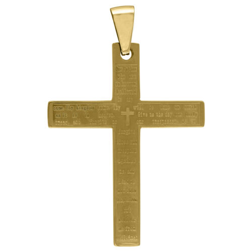 """Stainless Steel IPG Plated Lord/'s Prayer Cross Pendant Inscribed Charm 1.75/"""""""