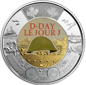 NEW-COLOUR-2019-75th-D-Day-Canada-2-toonie-coin-from-Royal-Mint-Roll-BU-UNC