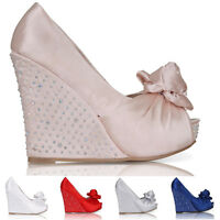 NEW WOMENS WEDDING PLATFORM WEDGE LADIES BRIDAL SANDALS EVENING PROM SHOES