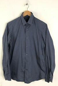 Banana-Republic-Homme-Taille-S-14-14-5-Bleu-amp-Gris-a-rayures-Slim-Fit-Shirt
