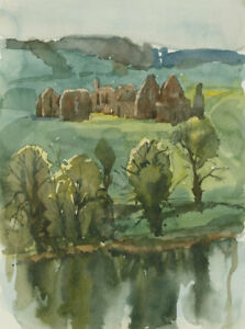 Clifford-H-Thompson-1926-2017-1993-Watercolour-Landscape-with-Ruins