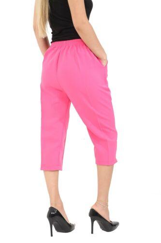 2 X Ladies 3//4 Trousers Womens Three Quarter Elasticated Waist Capri Cropped