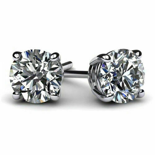 Round Earrings Studs Solid 14K White Gold Brilliant Cut Basket Screw Back