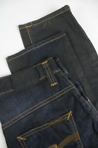 RRP-139-NUDIE-HANK-REY-FADED-COATED-INDIGO-Men-039-s-W29-L30-Faded-Jeans-2577-mm