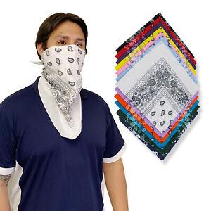 1 Dozen Pack Printed Bandanas 100% Cotton Cloth Scarf Wrap Wholesale Lot