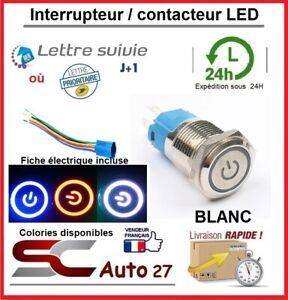 contacteur/bouton d'allumage LED 16 mm avec fiche de connexion blanc 12/24 volt