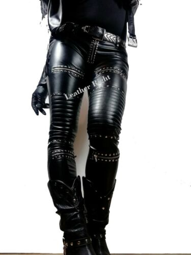 Ladies Skinny Real Leather quilted studded biker Trouser
