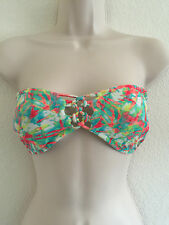 Forever 21 Mint with Coral Padded Bandeau braided bikini top Sz L