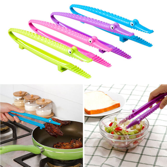 Cute Crocodile Cooking Kitchen Tongs Food BBQ Salad Bacon Steak Bread Clip Clamp