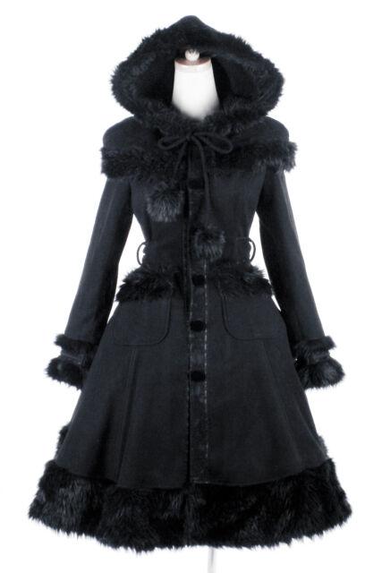 Lolita Cosplay Goth Wrap Winter Long Coat Jacket Women clothing Lot Black Dress
