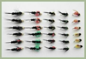 TRUITES-MOUCHES-30-goldhead-Montana-Nymphes-couleurs-melangees-10-12-pour-peche-a-la-mouche
