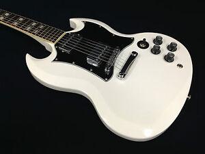 4-4-Haze-SG-Style-Solid-Body-Electric-Guitar-White-Free-Gig-Bag-Picks-SEG-271WH