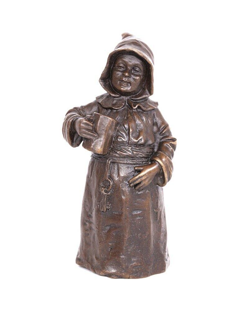 Cloche de table en bronze clochette sonnette statue buveur de bière - 13 cm