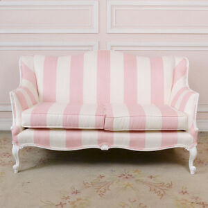 Shabby Cottage Chic PINK WHITE Suede Loveseat Couch Settee Living Room
