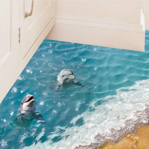 Floor stickers 60*90cm 3D dolphin waterproof bathroom starfish wall stickerTPI