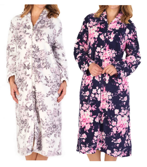 Ladies Tom Franks Warm Fleece Star Print Soft Wrap Over Bathrobe Dressing Gown