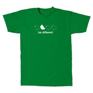 Herren-T-Shirt-Be-Different-4-Voegel-Fun-Motiv