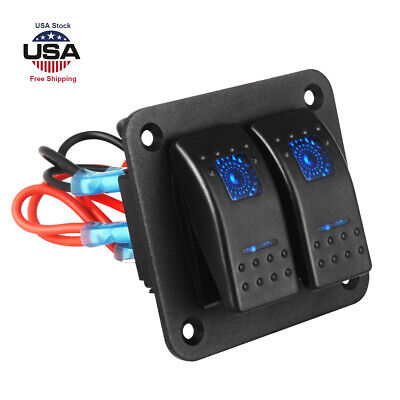 Rocker Switch Panel 3 Gang Marine//Boat Switch With Fuse Dual LED Light Blue