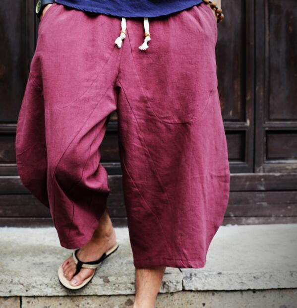 New Wide Leg Casual Mens Cotton Linen Retro Cropped Trousers Loose Harem Pants