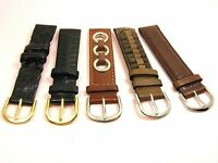 1 pair MEN Black/ Brown 18mm Genuine LEATHER Watch BAND STRAP BONUS Spring Bars