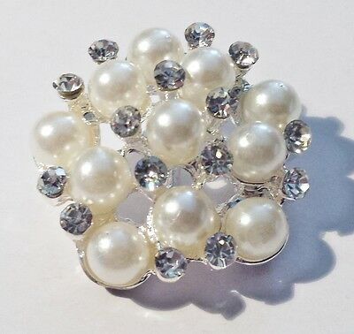 6 Silver Grade A Rhinestone, Metal & Polyester Buttons 30mm Quality Craft M0494