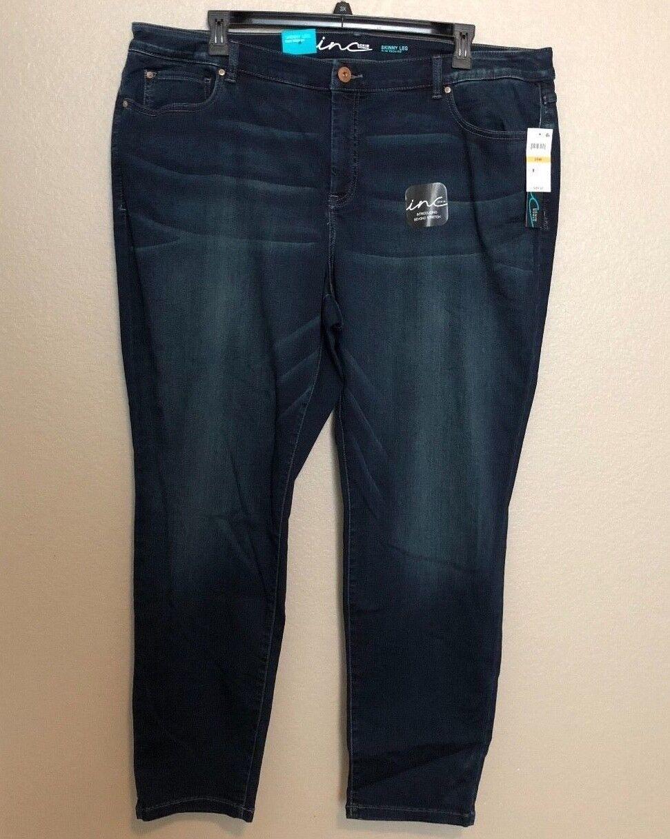 INC International Concepts Women's Indigo Plus Size Beyond Stretch Skinny Jeans
