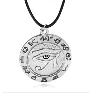 Egyptian eye of ra horus silver pewter gold brass charm necklace image is loading egyptian eye of ra horus silver pewter gold aloadofball Choice Image