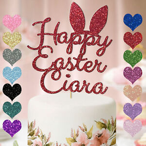 Personalised-Cake-Topper-Custom-Happy-Easter-Day-Party-Glitter-Bunny-Rabbit-Ear