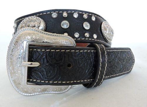 Kids/' Western Praying Cowboy Black Leather Belt