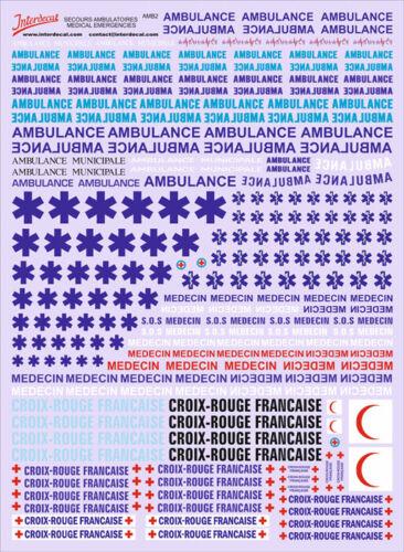 Französischer Notarzt Secours ambulatoires French 1//43 Decal Naßschiebebild AMB2