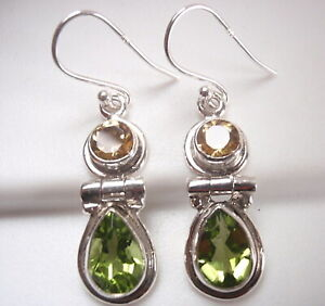 Faceted-Citrine-and-Peridot-2-Gem-Teardrop-925-Sterling-Silver-Dangle-Earrings
