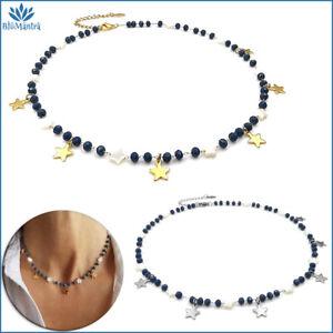 Collana girocollo da donna perle blu madreperla stella stelline in acciaio inox