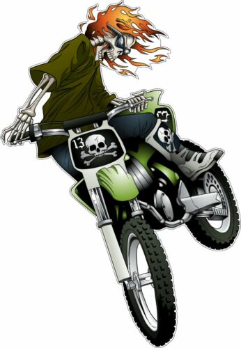 Skeleton Dirt Bike Rider Flaming Hair Bumper Sticker Vinyl Decal