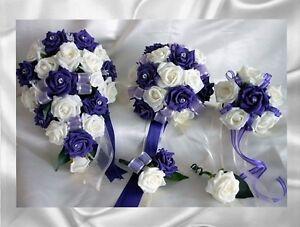 Brides-Bridesmaids-Flowergirl-wedding-bouquet-buttonholes-corsages-Purple-Ivory