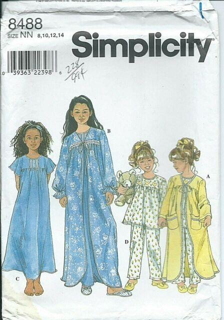 PAJAMAS /& ROBES GIRLS UNCUT Many SIMPLICITY