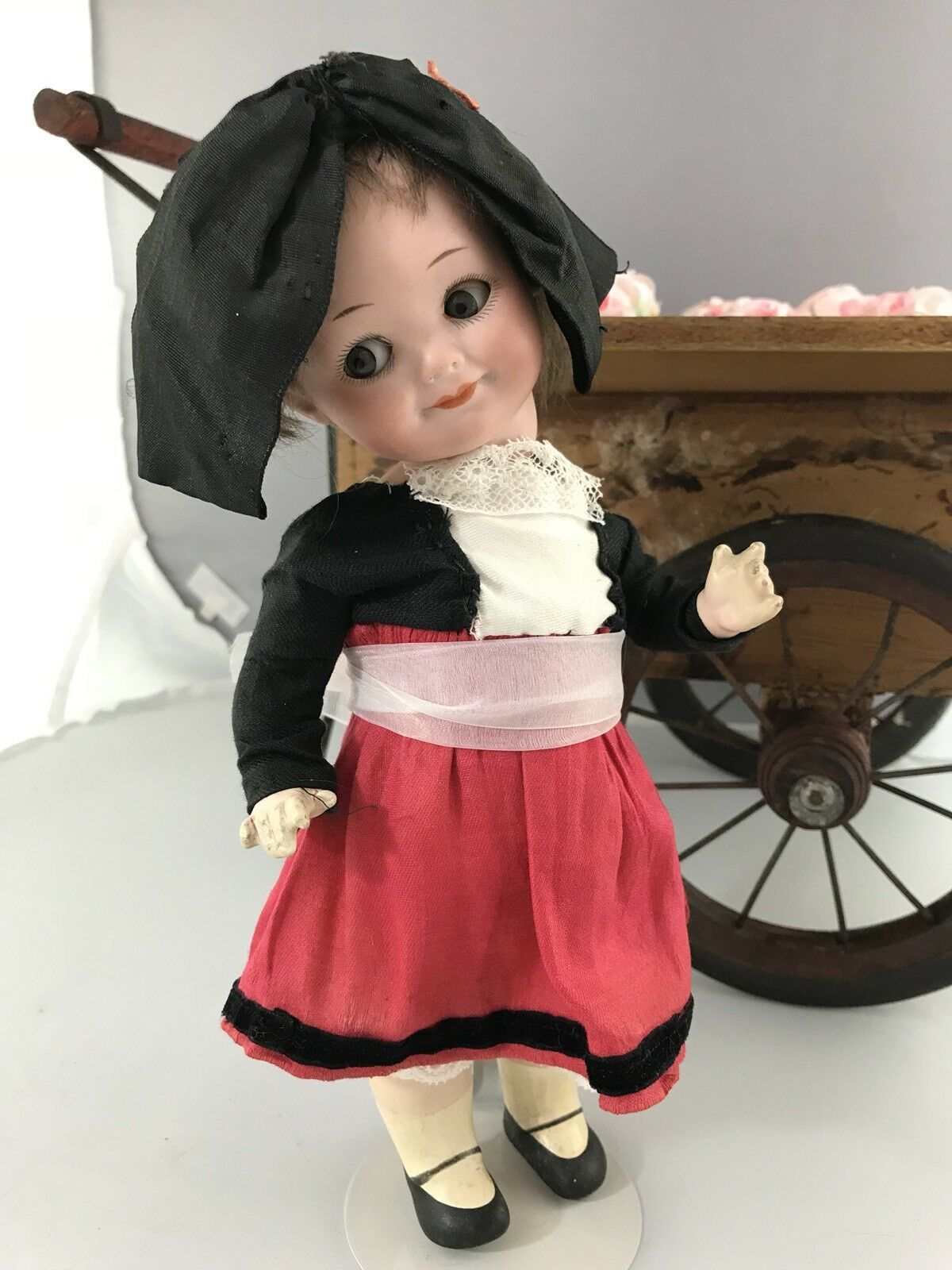"10"" Antique German Bisque Head Googly Doll A M 323 French Travel Doll"