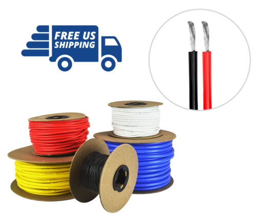 24 AWG Gauge Silicone Wire Spool Fine Strand Tinned Copper 100/' each Red /& Black