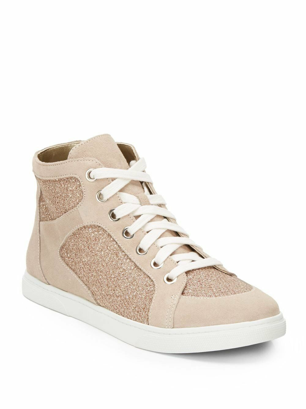 ENZO ANGIOLINI Women's Beige Easovann Glitter & Suede High Tops Sneakers  8.5M