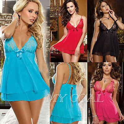 Sexy Lingerie Nightwear Underwear Ladies Sleepwear Babydoll+G String Lace Dress