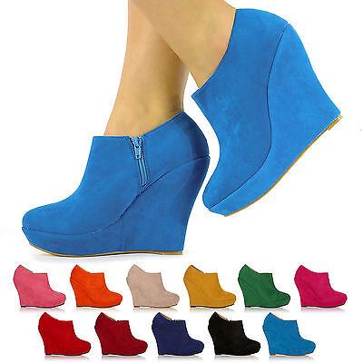 New Fashion De Tacón Alto Cuñas Damas mujeres de imitación de gamuza Plataforma Zapatos 3 - 8