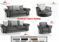 BRAND NEW STARLET 3 + 2 SOFA SET SUITE CUDDLE SWIVEL ARM CHAIR BLACK GREY BROWN
