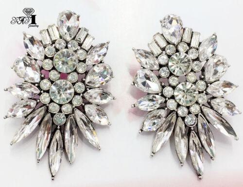 Hot Multi-Couleur Verre Cristal Antique Silver long Ear Stud Hoop pompons Boucles d/'oreilles