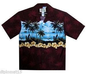 Ky`s Imprimé Rouge Shirt Bleu Plage Original Hawaiian OqOxwTC