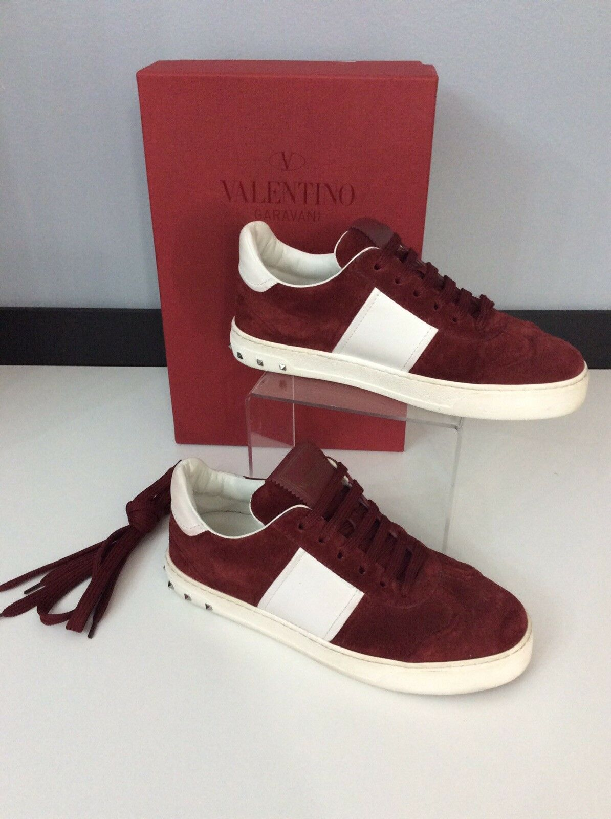 Valentino Sneakers Maroon Red White Suede Leather shoes Rockstud 36.5 Uk 3.5 Box