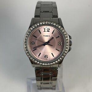 Timex Womens SR626SW Crystal Bezel Pink Dial Stainless Steel Bracelet Watch