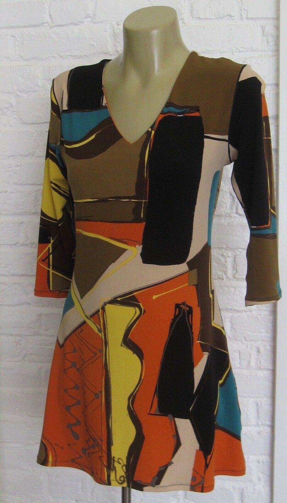 NEW EVA VARRO MultiFarbe Abstract Print Tunic Top Blouse Small NWT Made in USA