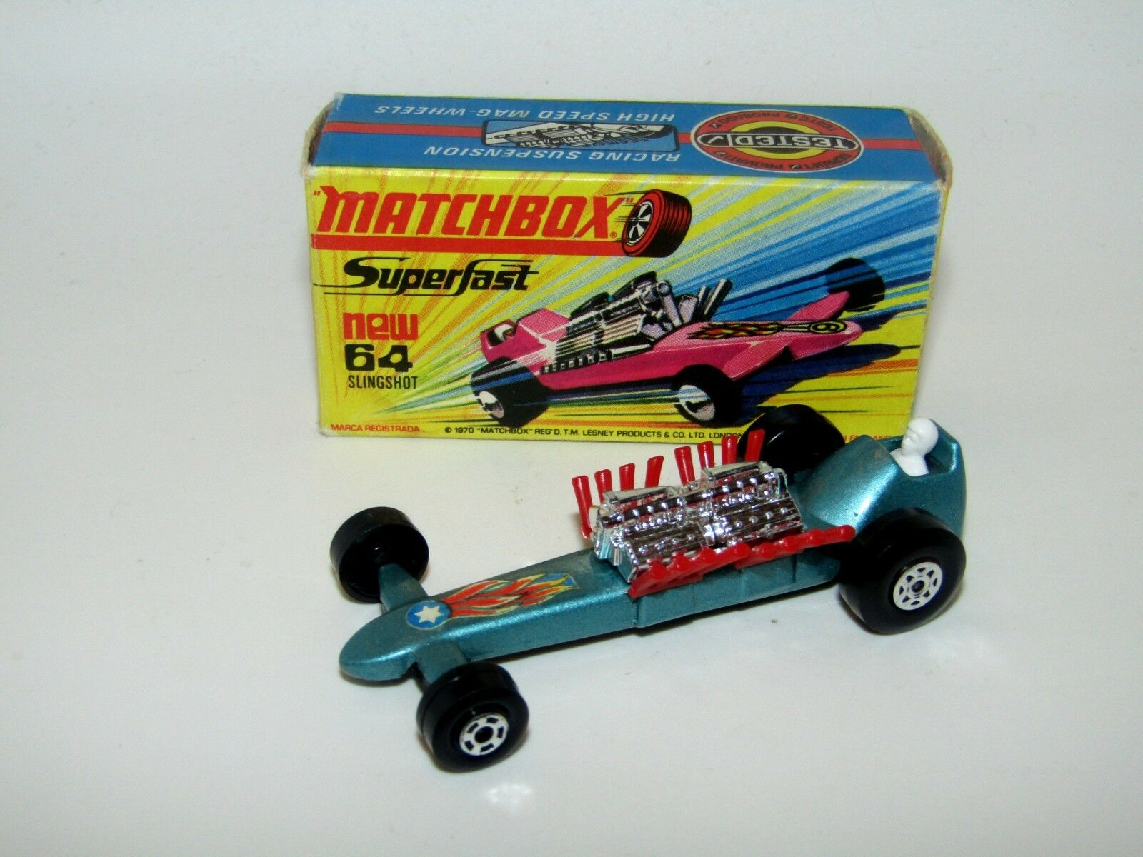 Matchbox Superfast No 64 Slingshot Dragster bluee Star Flames WIDE Wh NMIB V RARE