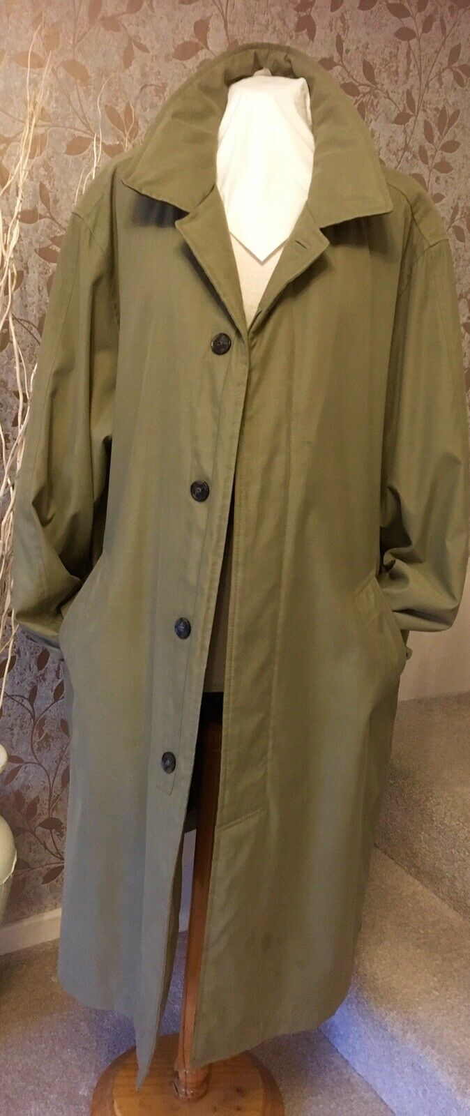 "Zona Gentlemen's Gentlemen's Gentlemen's Trench Coat 50"" Chest Olive Green 100% Polyester Rain Mac XL e5bf29"